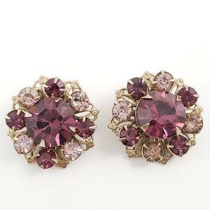 TRUE VINTAGE Gorgeous Rhinestone Clip On Earrings
